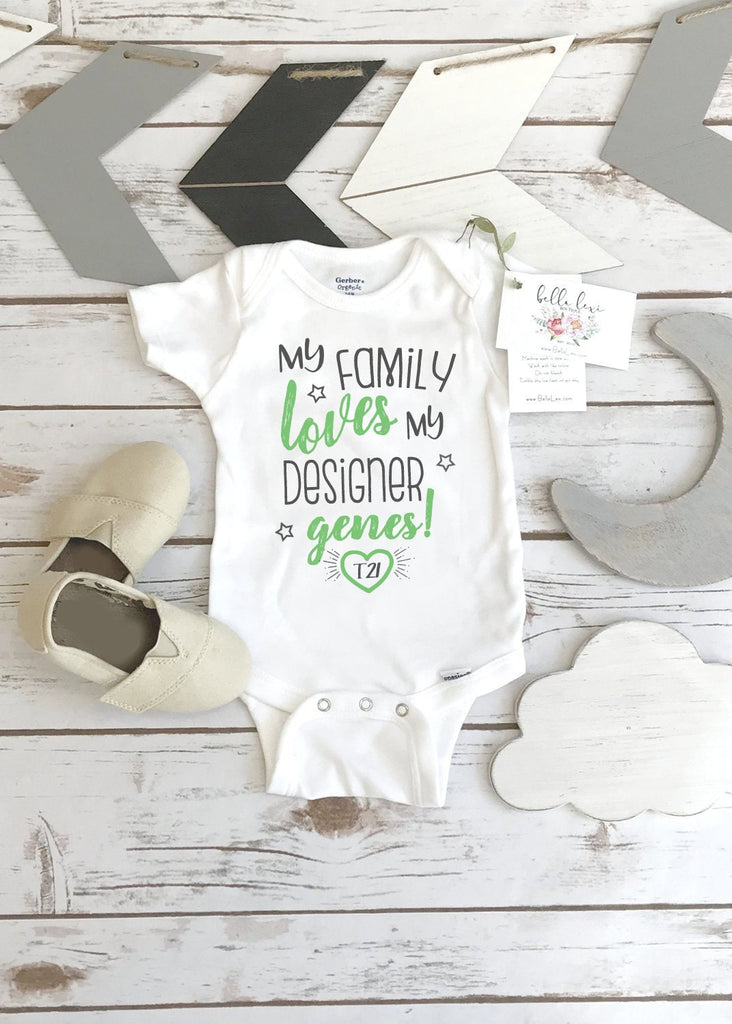 Baby Shower Gift, Designer Genes, Down Syndrome Awareness, T21, 21st chromosome