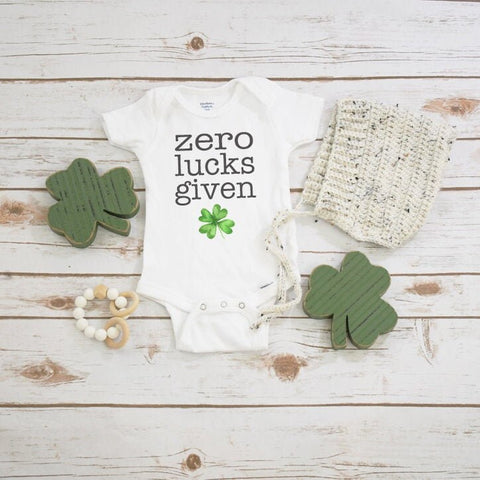 St. Patrick's Day Onesie®, Zero Lucks Given, First St. Patty's Day, Baby Shamrock Shirt, St Patricks Day Shirt