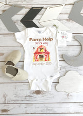 Farm Help on the Way, Pregnancy Announcement, Farm Baby, Pregnancy Reveal shirt, Farm Onesie®
