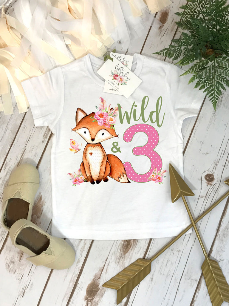 3rd Birthday Shirt, Fox Birthday Shirt, Wild and Three Birthday, Safari Party, Zoo Party