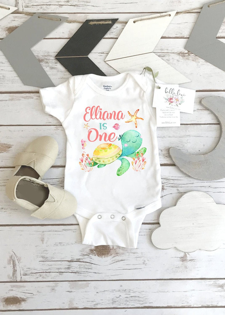 First Birthday Onesie®, Under the Sea Party, Turtle Birthday shirt, 1st Birthday, Girl Birthday Shirt