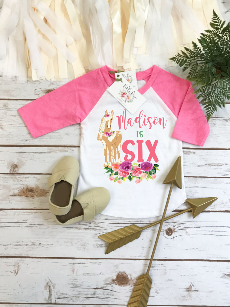 Horse Birthday, Personalized Birthday Shirt, 6th Birthday, Sixth Birthday, Niece Gift