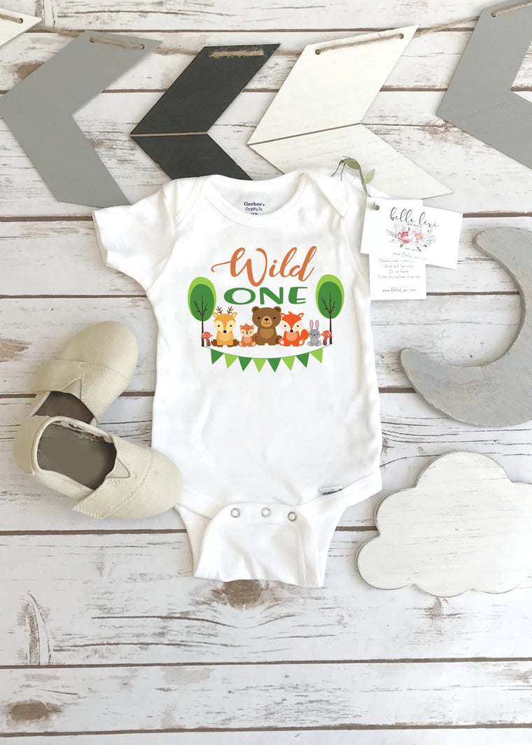 First Birthday Onesie®, Woodland Birthday, Wild ONE, Woodland Animal Birthday, Woodland Party