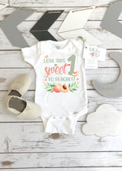 First Birthday Onesie®, Love this Sweet 1 to Peaches, Peach Birthday shirt, 1st Birthday, Sweet as a Peach