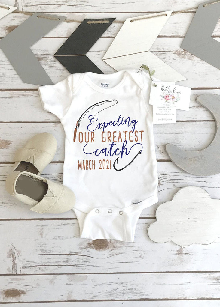 Fishing ONESIE®, Expecting our greatest catch, Pregnancy Reveal, Fishing Baby shirt, Baby Announcement