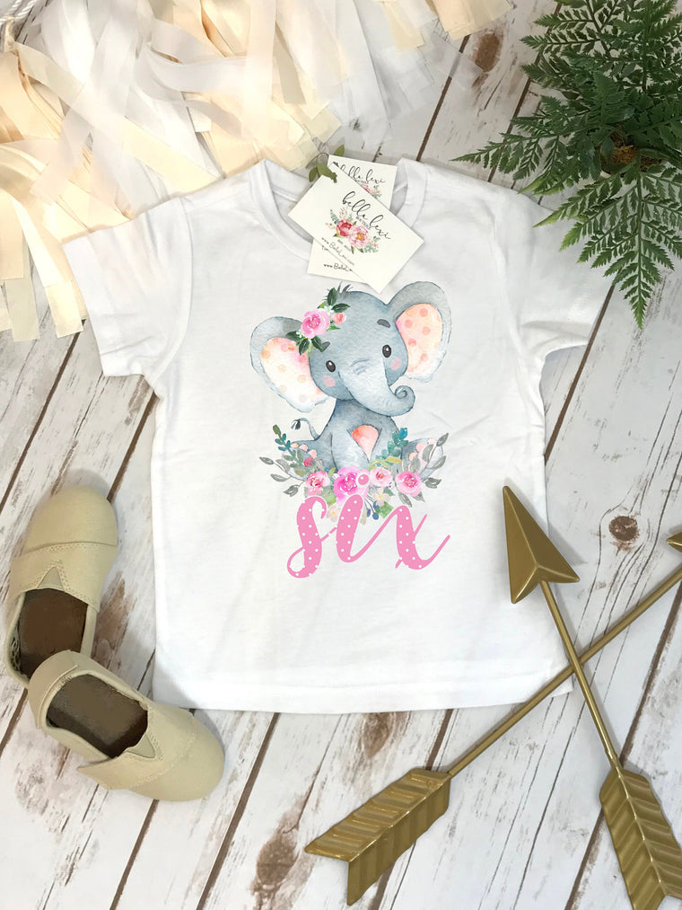 6th Birthday Shirt, Elephant Theme, Birthday Shirt, SixthBirthday, Girl Birthday, Girl Birthday Gift, Elephant Party, Boho Birthday, Boho