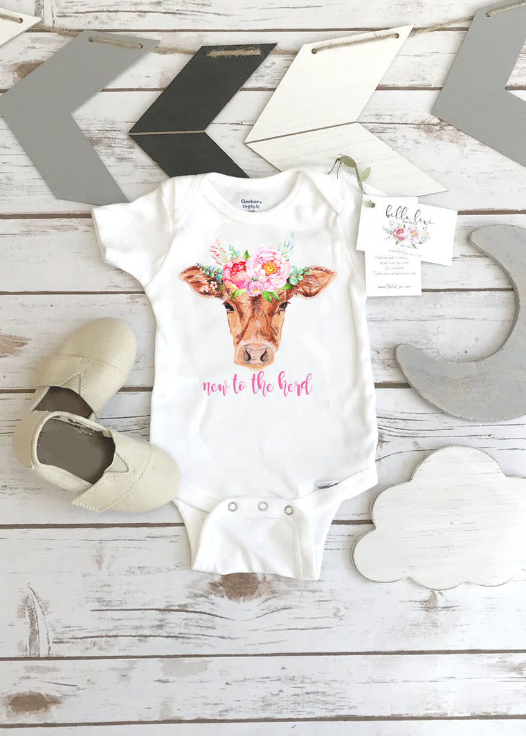 New to the Herd Onesie®, Pregnancy Reveal, Baby Shower Gift Idea, Girl