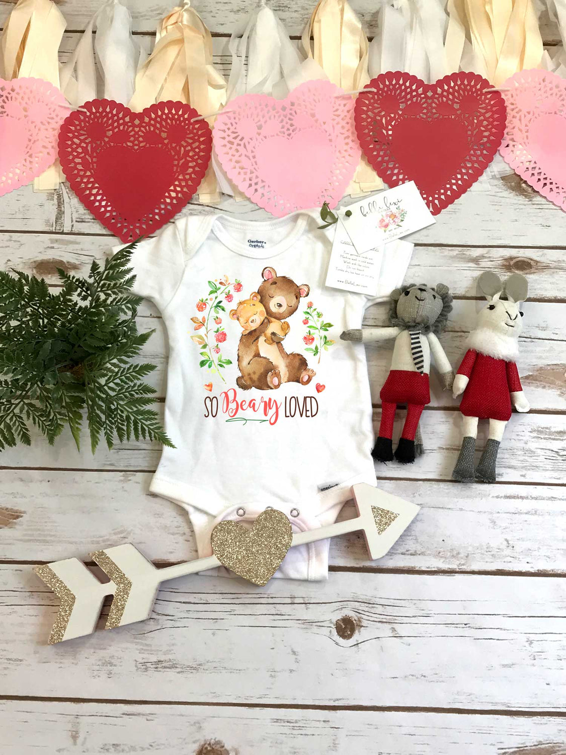 Valentine's Onesie®, So BEARY Loved, Baby Bear, First Valentines, Baby Valentine Shirt, Valentine Shirts, Baby Shower Gift, Baby Bear Onesie - Bella Lexi Boutique