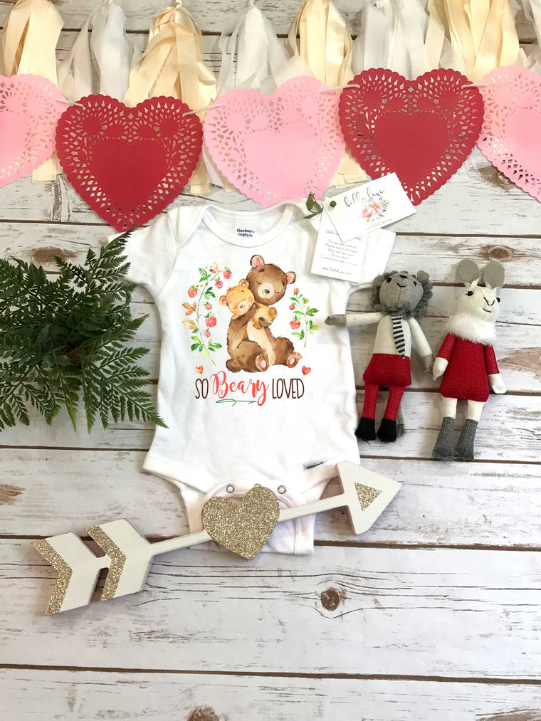 480e13644 Valentine's Onesie®, So BEARY Loved, Baby Bear, First Valentines, Baby  Valentine