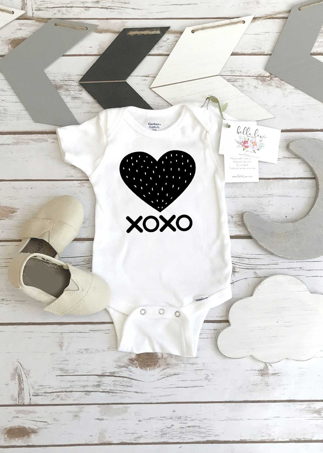 XOXO, Heart Monochrome Onesie® - Bella Lexi Boutique