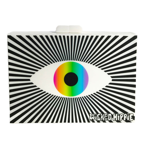 Eye See Rainbows Acrylic Clutch Purse