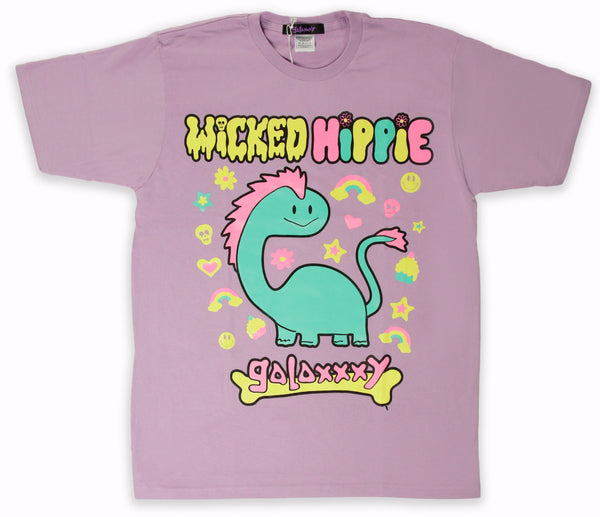 COLLAB! Wicked Hippie X Galaxxxy Dino Sparkles T-Shirt Lavender