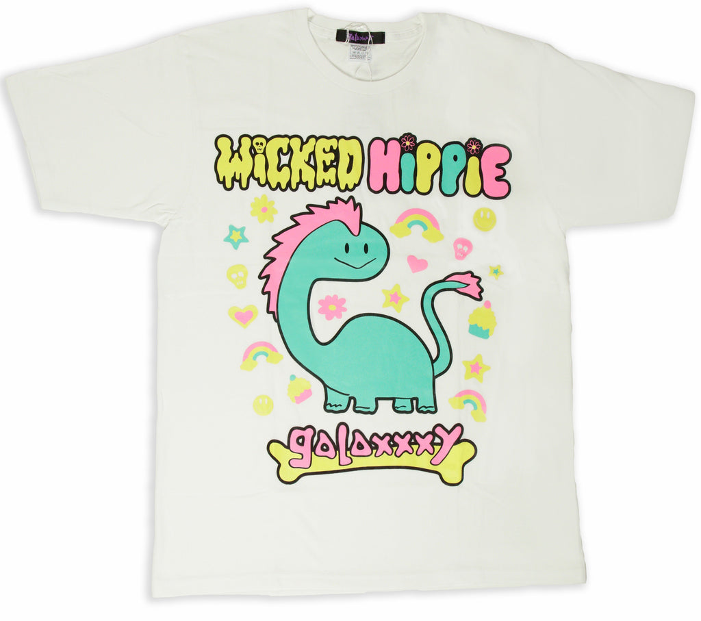 COLLAB! Wicked Hippie X Galaxxxy Dino Sparkles T-Shirt White