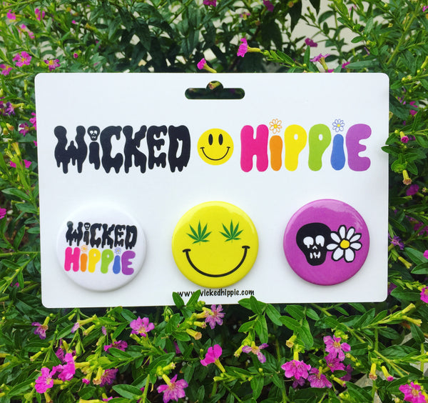 Wicked Hippie 4 Life Button Pack