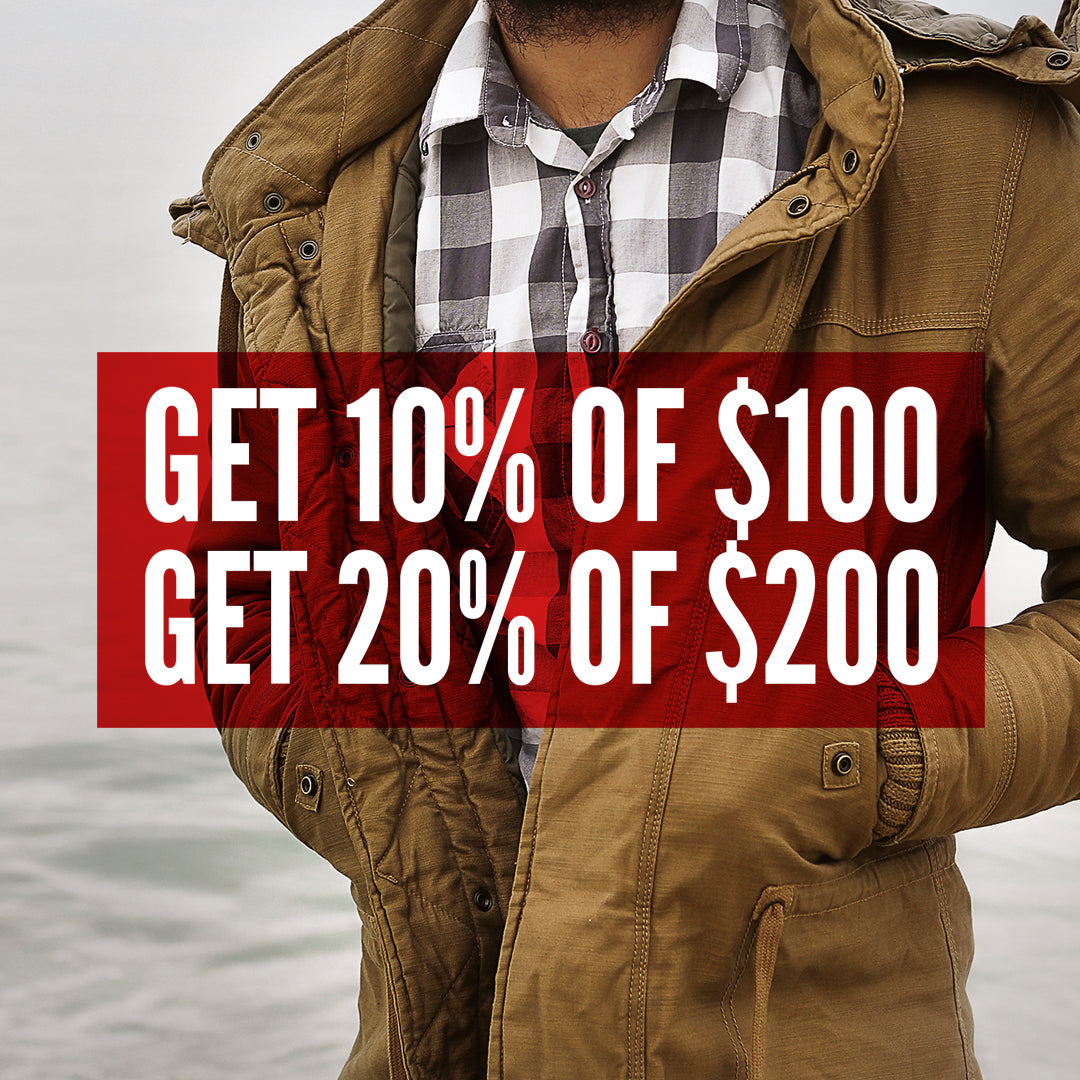 20% OFF $200, 10% OFF $100