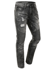 Distressed Rib Biker Jean- Slim Taper Fit - URBANCREWS - 1