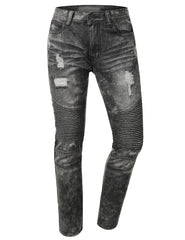 Distressed Rib Biker Jean- Slim Taper Fit - URBANCREWS - 2