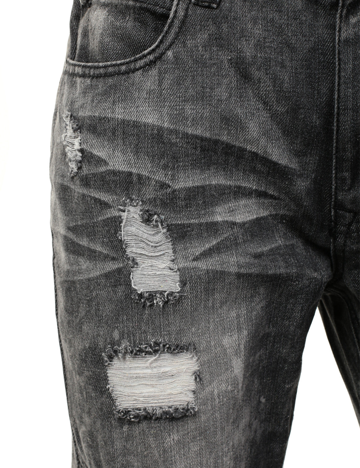 Distressed Rib Biker Jean- Slim Taper Fit - URBANCREWS - 4