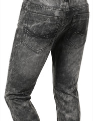 Distressed Rib Biker Jean- Slim Taper Fit - URBANCREWS - 6