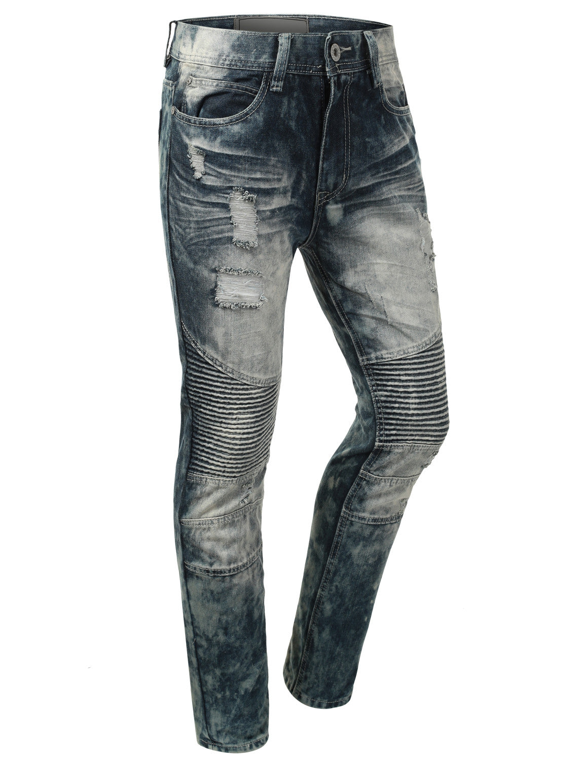 Distressed Rib Biker Jean- Slim Taper Fit - URBANCREWS - 7