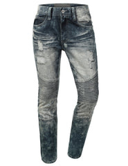 Distressed Rib Biker Jean- Slim Taper Fit - URBANCREWS - 8