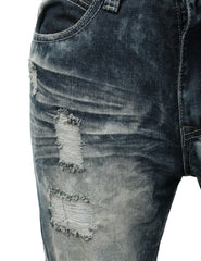 Distressed Rib Biker Jean- Slim Taper Fit - URBANCREWS - 10