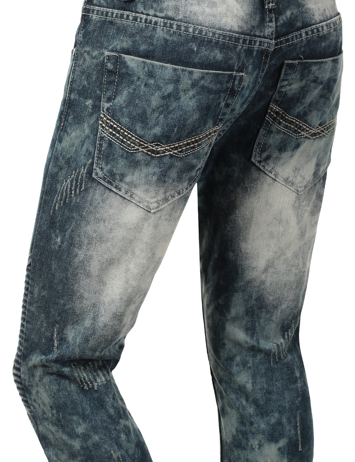 Distressed Rib Biker Jean- Slim Taper Fit - URBANCREWS - 12