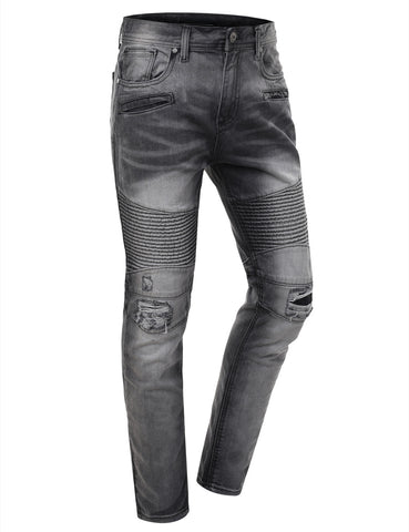 Washed Slim Fit Denim Biker Ribbed Jeans
