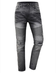 Washed Slim Fit Denim Biker Ribbed Jeans - URBANCREWS - 2