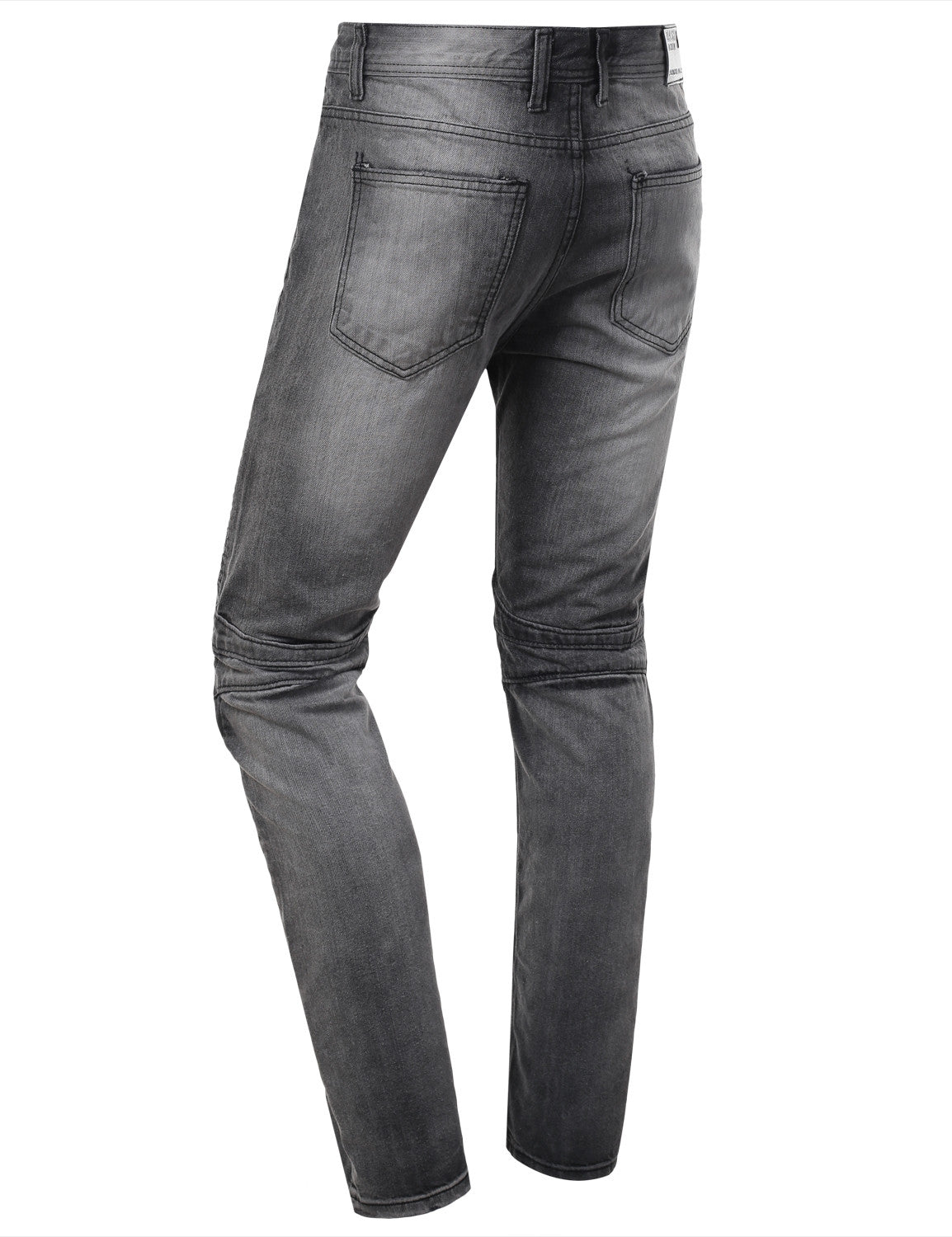 Washed Slim Fit Denim Biker Ribbed Jeans - URBANCREWS - 3