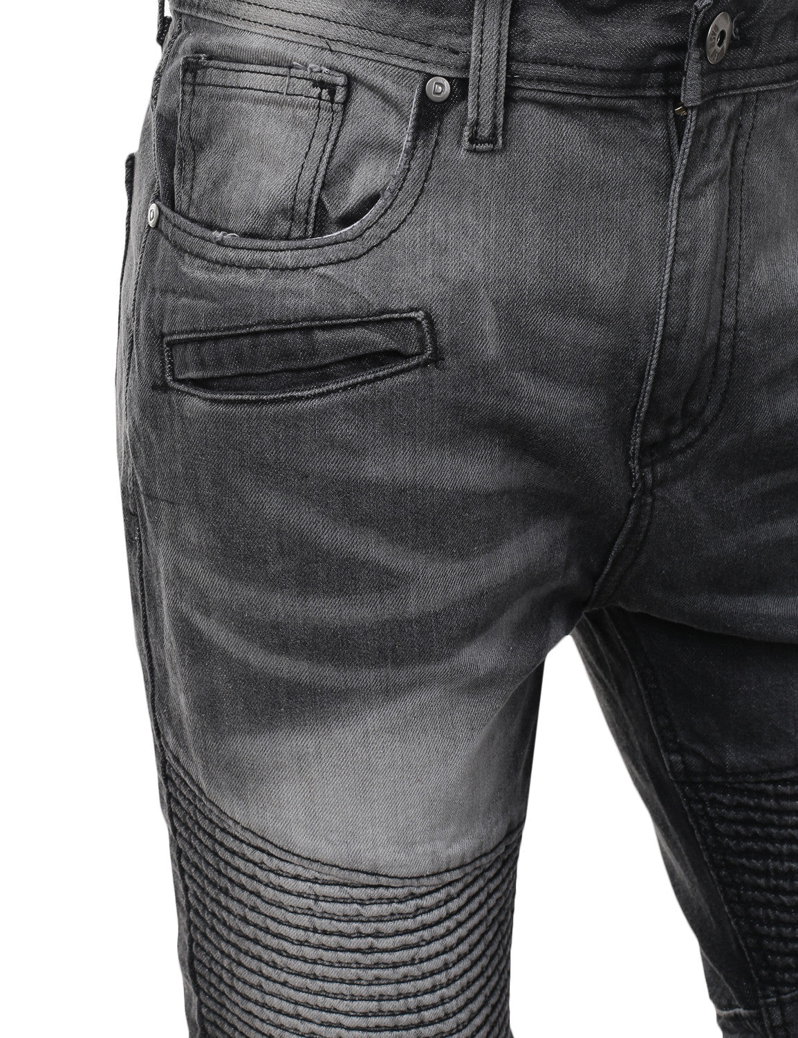 Washed Slim Fit Denim Biker Ribbed Jeans - URBANCREWS - 4