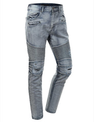 Washed Slim Fit Denim Biker Ribbed Jeans - URBANCREWS - 7