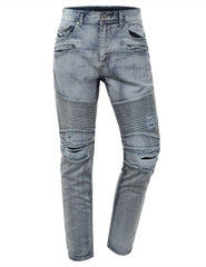 Washed Slim Fit Denim Biker Ribbed Jeans - URBANCREWS - 8