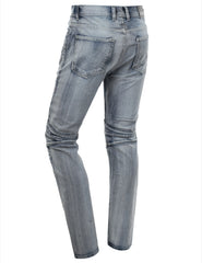 Washed Slim Fit Denim Biker Ribbed Jeans - URBANCREWS - 9