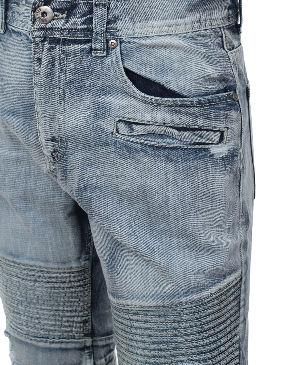 Washed Slim Fit Denim Biker Ribbed Jeans - URBANCREWS - 11