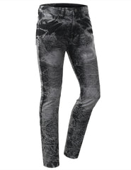 Straight Slim Fit Acid Wash Biker Jeans - URBANCREWS - 1