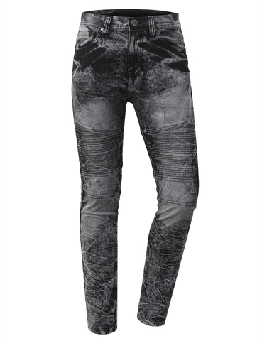 Straight Slim Fit Acid Wash Biker Jeans