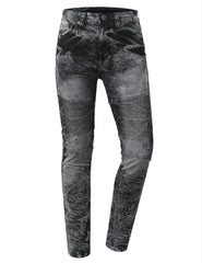 Straight Slim Fit Acid Wash Biker Jeans - URBANCREWS - 2