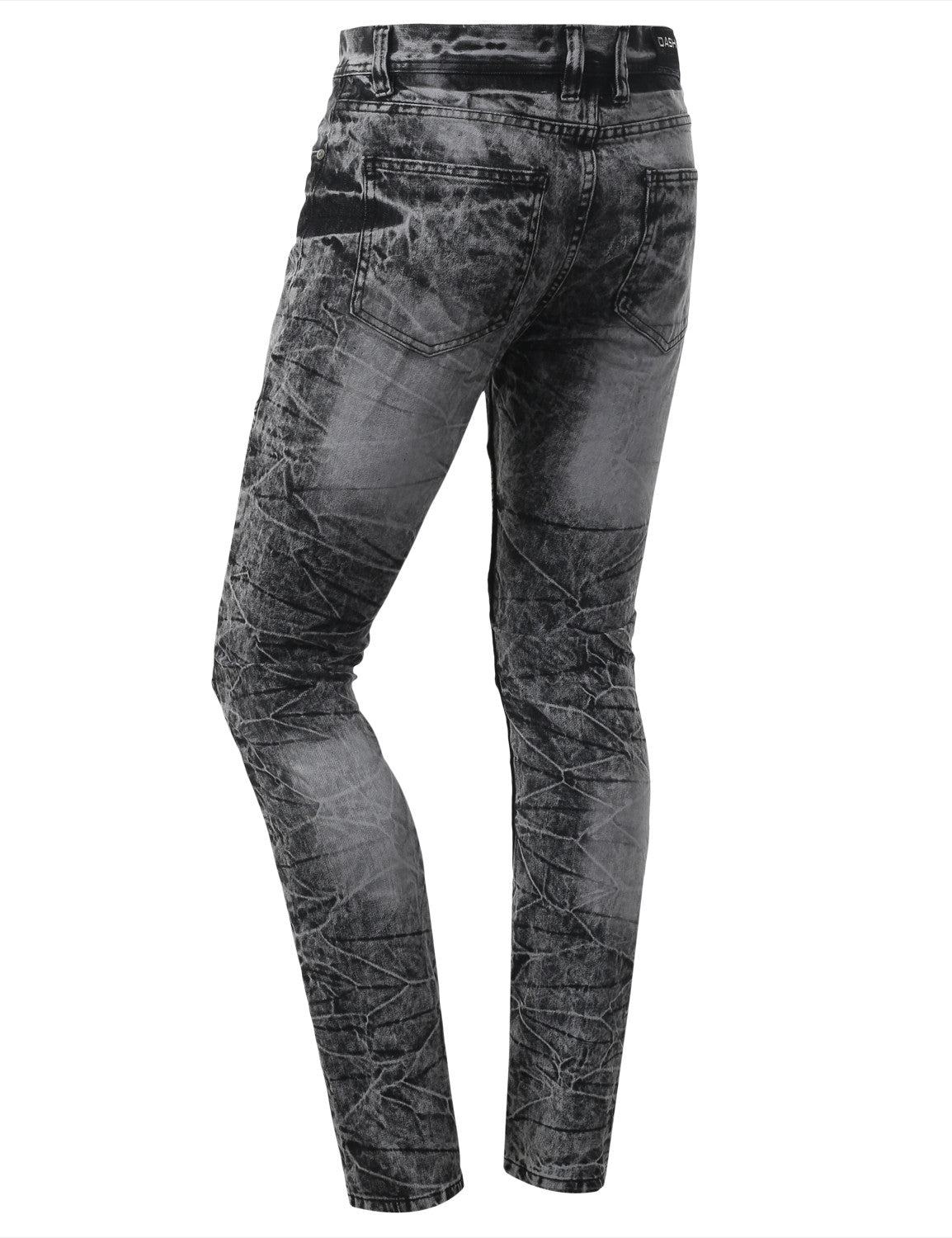 Straight Slim Fit Acid Wash Biker Jeans - URBANCREWS - 3