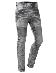 Straight Slim Fit Acid Wash Biker Jeans - URBANCREWS - 4