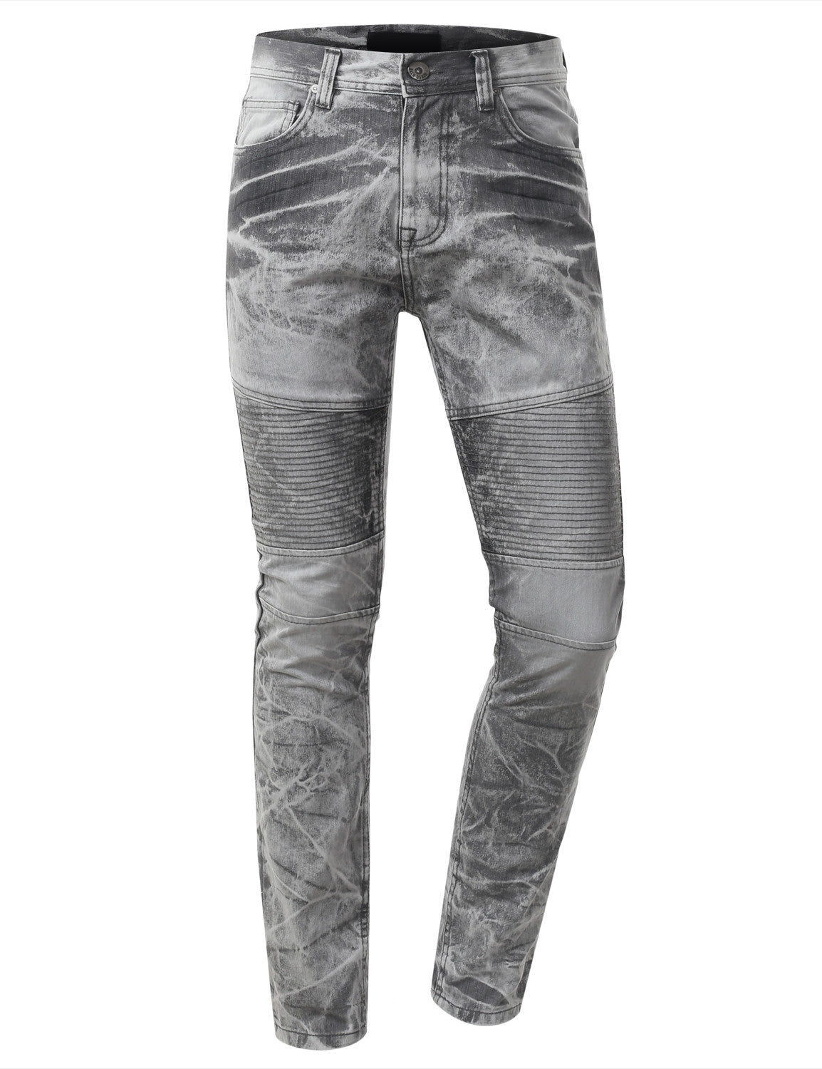 Straight Slim Fit Acid Wash Biker Jeans - URBANCREWS - 5