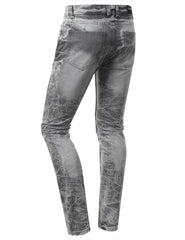 Straight Slim Fit Acid Wash Biker Jeans - URBANCREWS - 6