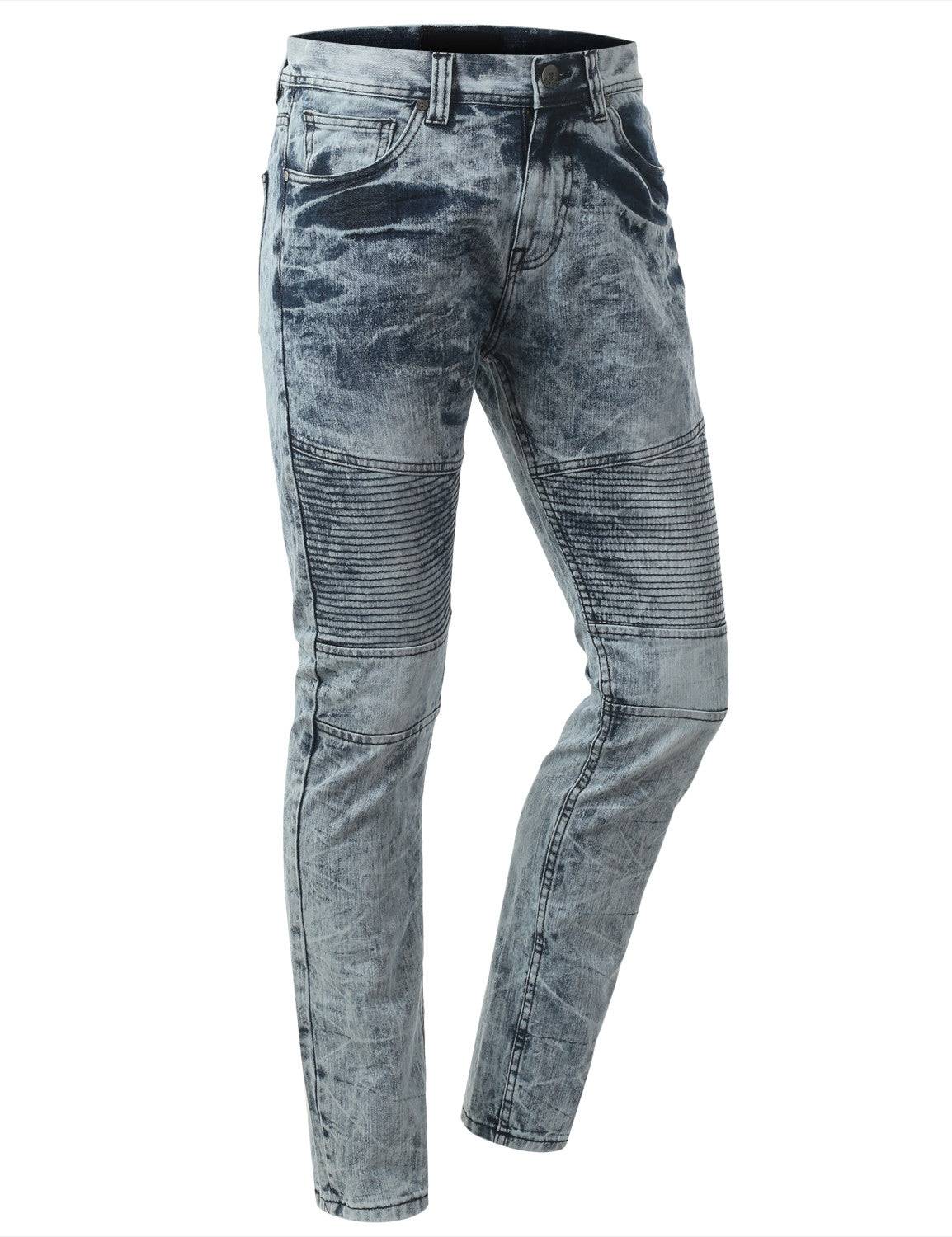 Straight Slim Fit Acid Wash Biker Jeans - URBANCREWS - 13