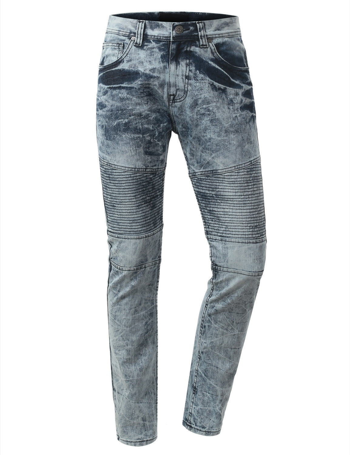 Straight Slim Fit Acid Wash Biker Jeans - URBANCREWS - 14