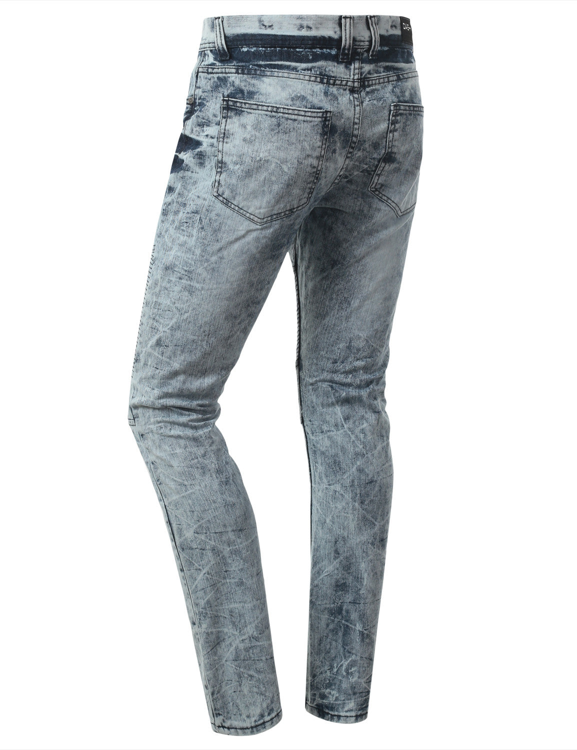 Straight Slim Fit Acid Wash Biker Jeans - URBANCREWS - 15
