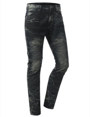 Straight Slim Fit Acid Wash Biker Jeans - URBANCREWS - 10