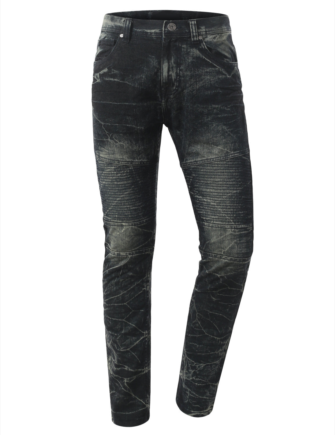 Straight Slim Fit Acid Wash Biker Jeans - URBANCREWS - 11