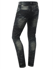 Straight Slim Fit Acid Wash Biker Jeans - URBANCREWS - 12