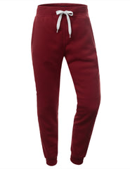 BURGUNDY Basic Fleece Jogger Sweatpants - URBANCREWS