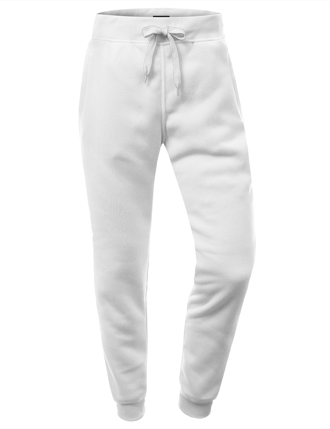 WHITE Basic Fleece Jogger Sweatpants - URBANCREWS